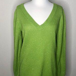 Old navy Green Speckled Long Sleeve V-neck Sweater